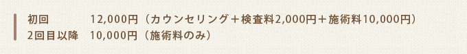 初回12,000円(カウンセリング+検査料2,000円+施術料10,000円)2回目以降10,000円(施術料のみ)