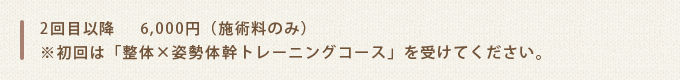 2回目以降6,000円(施術料のみ)※初回は「整体×姿勢体幹トレーニングコース」を受けてください。